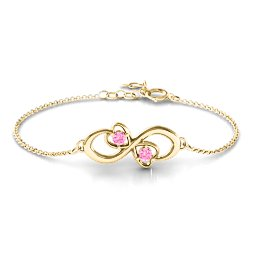 Duo of Hearts and Stones Infinity Bracelet