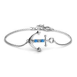 Anchor Bracelet with Three Stones