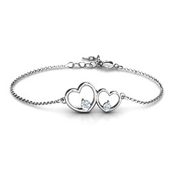 Double Heart With Two Stones Bracelet