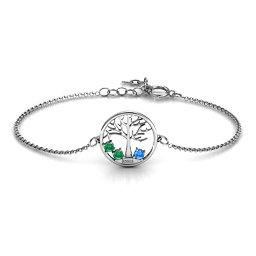 1 - 4 Stone Family Tree Bracelet