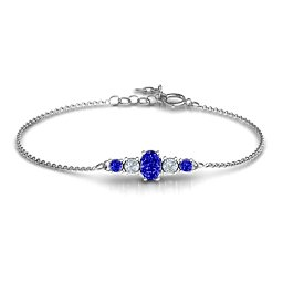 Oval Center with 4 Side Round Stones Bracelet