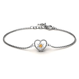 Chained Heart with Star of David Bracelet