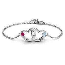 Interlocking Heart Promise Bracelet with Two Stones