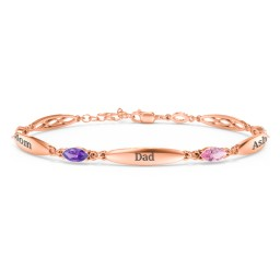 Engravable Family Bracelet with Marquise Birthstones (1-5 Stones)