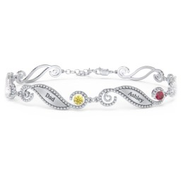 Engravable Beaded Family Bracelet with Round Birthstones (1-6 Stones)