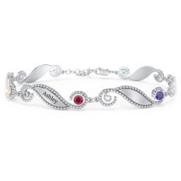 Engravable Beaded Family Bracelet with Round Birthstones (1-6 Stones)