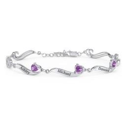 Engravable Milgrain Family Bracelet with Heart Birthstones (1-7 Stones)