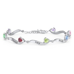 Engravable Milgrain Family Bracelet with Heart Birthstones (1-7 Stones)