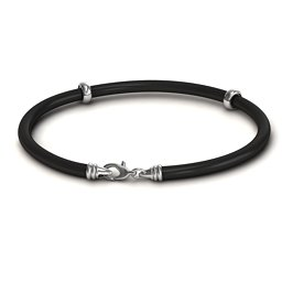 "7.5"" Leather Bracelet with Silver Clasps"