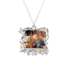 Square Cherry Blossom Photo Frame Necklace