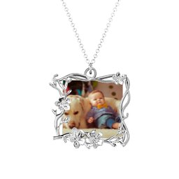 Square Cherry Blossom Photo Frame Necklace