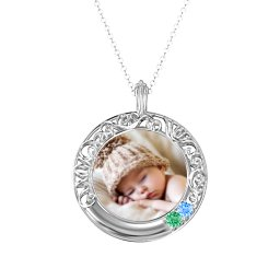 Round Engravable Filligree Photo Frame Necklace