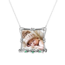 Fancy Square Photo Frame Necklace With Accents