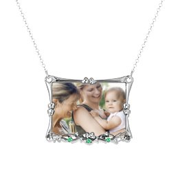 Fancy Rectangular Photo Frame Necklace With Accents