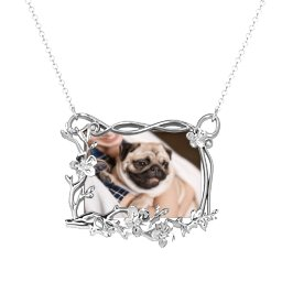 Rectangular Cherry Blossom Photo Frame Necklace