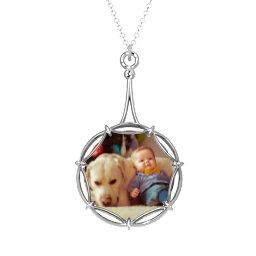 Modern Decorative Round Photo Frame Necklace