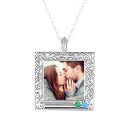 Square Engravable Filligree Photo Frame Necklace