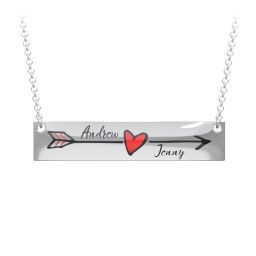 Personalized Heart and Arrow Bar Necklace