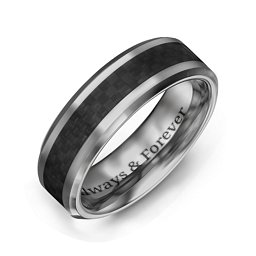 Men's Black Carbon Fiber Inlay Polished Tungsten Ring