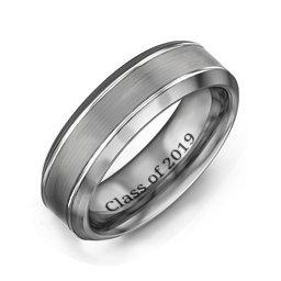 Men's Beveled Edge Brushed Centre Tungsten Ring