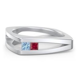 Men's Squared Split Shank Ring with Princess Cut Gemstones