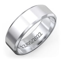 Men's Beveled Edge Wedding Band - 6mm Width