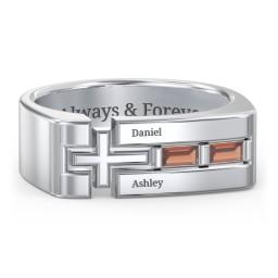 Men's Squared Cross Ring with Baguette Gemstones