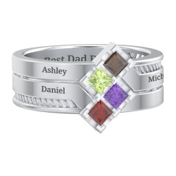 Men's Family Ring with Princess Cut Stones
