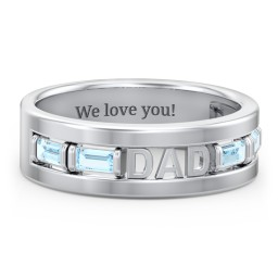 "Men's ""Dad"" Family Ring with Baguette Birthstones"