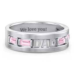 """Men's """"Dad"""" Family Ring with Baguette Birthstones"""