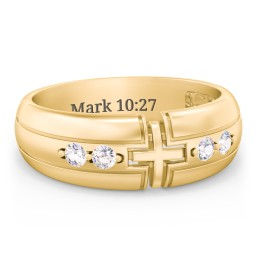 Men's 4-Stone Cross Ring