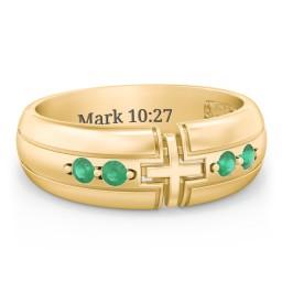 Men's 4-Stone Cross Ring