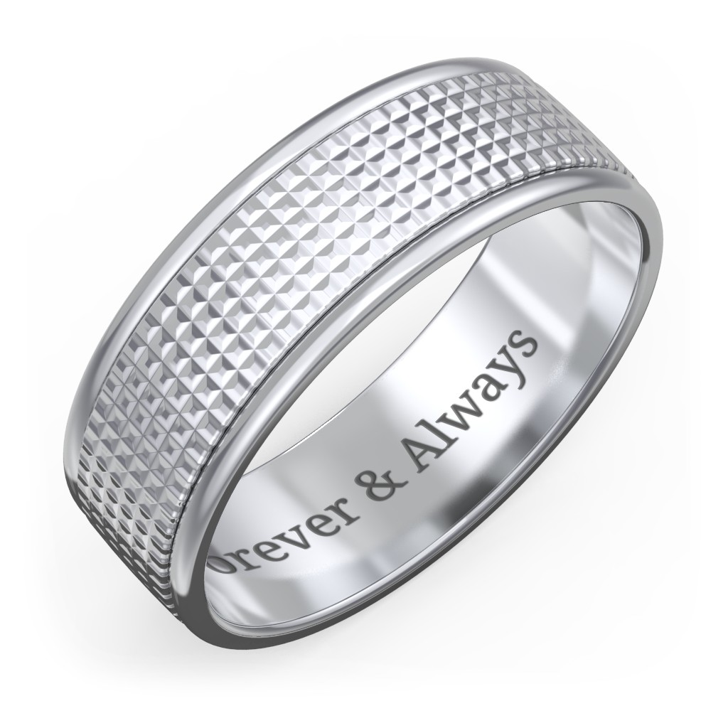 a3474ff413 Men's Round Edge Wedding Band with Knurled Texture