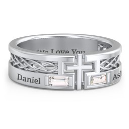 Men's Cross Ring with East-West Baguette Gemstones