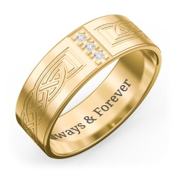Men's Celtic Trinity Knot Wedding Band with Gemstones