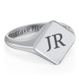 Men's Diamond Shaped Signet Ring