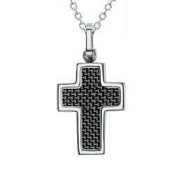 Engravable Stainless Steel Cross Necklace With Textured Carbon Fibre Inlay