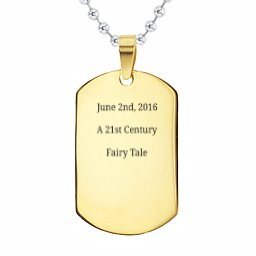 Engravable Gold-Plated Dog Tag Necklace