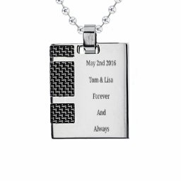 Stainless Steel Dog Tag Necklace With Black Carbon Inlay
