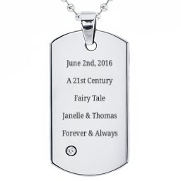 Stainless Steel Dog Tag Necklace With Gemstone Accent