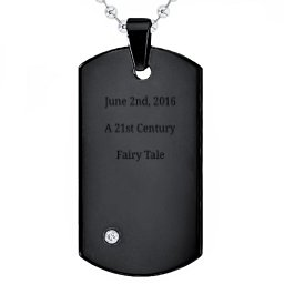 Black Stainless Steel Dog Tag With Gemstone Accent