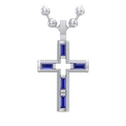 Men's Baguette Birthstone Cross Pendant