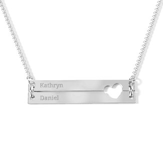 e31df6c8095e08 Sterling Silver Raising The Bar Engravable Double Bar Necklace with Heart  Cutout | Jewlr