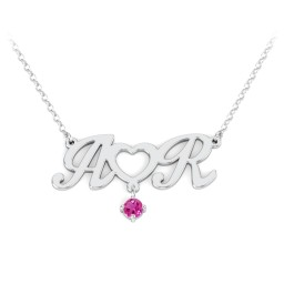 Initials and Heart Pendant
