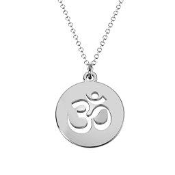 Om Symbol Cutout Disc Necklace