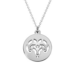 Aries Zodiac Sign Cutout Disc Necklace