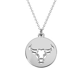 Taurus Zodiac Sign Cutout Disc Necklace