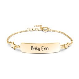 Engravable Baby Bracelet with Heart and Star Charms