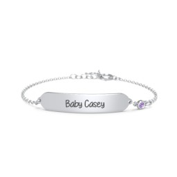 Engravable Baby Bracelet with Birthstone