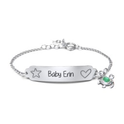 Engraved Heart and Star Baby Bracelet with Birthstone Turtle Charm